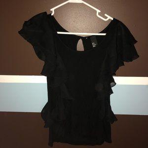 Black ruffle shirt